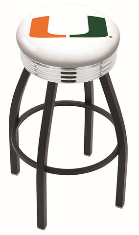 "Miami Hurricanes 30"" L8B3C - Black Wrinkle Miami (FL) Swivel Bar Stool with Chrome 2.5"" Ribbed Accent Ring by Holland Bar Stool Company"