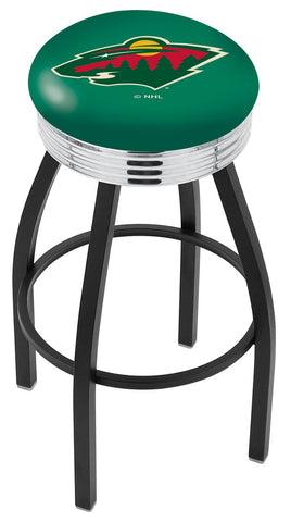"30"" L8B3C - Black Wrinkle Minnesota Wild Swivel Bar Stool with Chrome 2.5"" Ribbed Accent Ring by Holland Bar Stool Company"