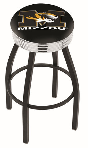 "Mizzou Tigers 30"" L8B3C - Black Wrinkle Missouri Swivel Bar Stool with Chrome 2.5"" Ribbed Accent Ring by Holland Bar Stool Company"