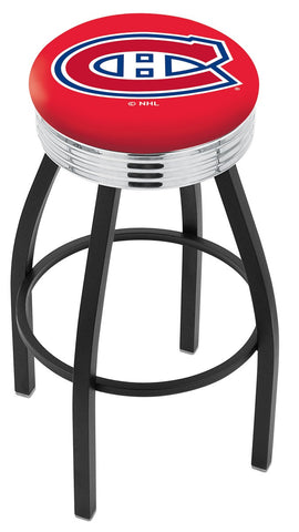 "30"" L8B3C - Black Wrinkle Montreal Canadiens Swivel Bar Stool with Chrome 2.5"" Ribbed Accent Ring by Holland Bar Stool Company"