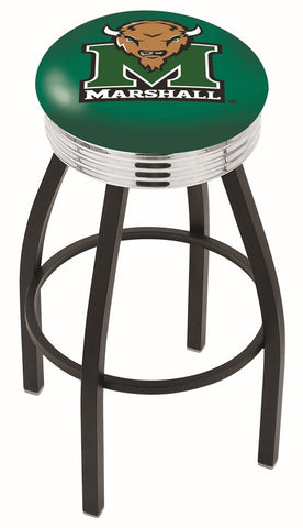 "Marshall  Thundering Herd 30"" L8B3C - Black Wrinkle Marshall Swivel Bar Stool with Chrome 2.5"" Ribbed Accent Ring by Holland Bar Stool Company"