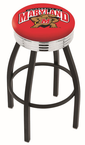 "UM Terrapins 30"" L8B3C - Black Wrinkle Maryland Swivel Bar Stool with Chrome 2.5"" Ribbed Accent Ring by Holland Bar Stool Company"