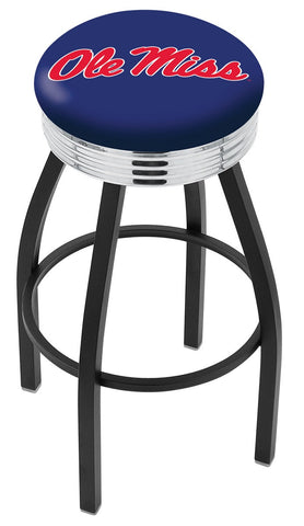 "Ole Miss Rebels 30"" L8B3C - Black Wrinkle Ole' Miss Swivel Bar Stool with Chrome 2.5"" Ribbed Accent Ring by Holland Bar Stool Company"