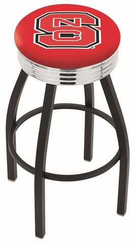 "NC State Wolfpack 30"" L8B3C - Black Wrinkle North Carolina State Swivel Bar Stool with Chrome 2.5"" Ribbed Accent Ring by Holland Bar Stool Company"