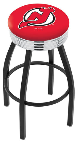 "30"" L8B3C - Black Wrinkle New Jersey Devils Swivel Bar Stool with Chrome 2.5"" Ribbed Accent Ring by Holland Bar Stool Company"