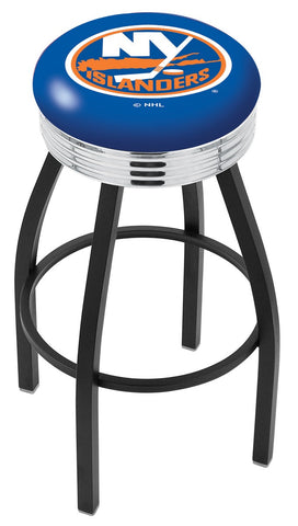 "30"" L8B3C - Black Wrinkle New York Islanders Swivel Bar Stool with Chrome 2.5"" Ribbed Accent Ring by Holland Bar Stool Company"