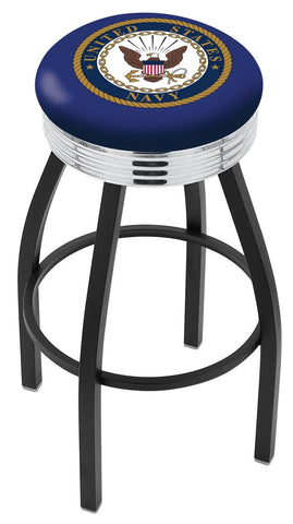 "30"" L8B3C - Black Wrinkle U.S. Navy Swivel Bar Stool with Chrome 2.5"" Ribbed Accent Ring by Holland Bar Stool Company"