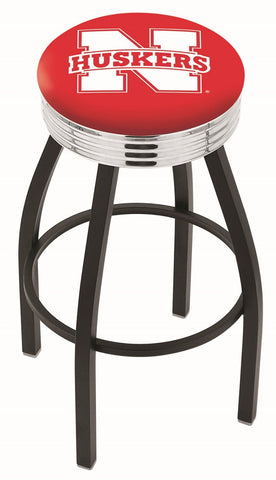 "Nebraska Cornhuskers 30"" L8B3C - Black Wrinkle Nebraska Swivel Bar Stool with Chrome 2.5"" Ribbed Accent Ring by Holland Bar Stool Company"