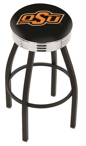"OSU Cowboys 30"" L8B3C - Black Wrinkle Oklahoma State Swivel Bar Stool with Chrome 2.5"" Ribbed Accent Ring by Holland Bar Stool Company"