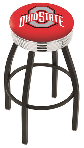 "OSU Buckeyes 30"" L8B3C - Black Wrinkle Ohio State Swivel Bar Stool with Chrome 2.5"" Ribbed Accent Ring by Holland Bar Stool Company"