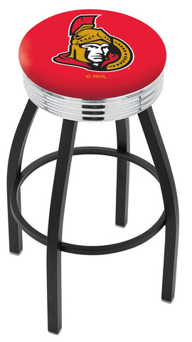 "30"" L8B3C - Black Wrinkle Ottawa Senators Swivel Bar Stool with Chrome 2.5"" Ribbed Accent Ring by Holland Bar Stool Company"
