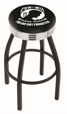 "30"" L8B3C - Black Wrinkle POW/MIA Swivel Bar Stool with Chrome 2.5"" Ribbed Accent Ring by Holland Bar Stool Company"