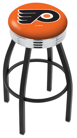 "30"" L8B3C - Black Wrinkle Philadelphia Flyers Swivel Bar Stool with Chrome 2.5"" Ribbed Accent Ring by Holland Bar Stool Company"