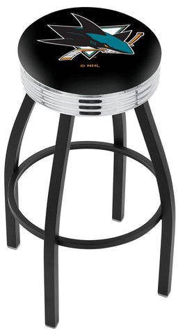 "30"" L8B3C - Black Wrinkle San Jose Sharks Swivel Bar Stool with Chrome 2.5"" Ribbed Accent Ring by Holland Bar Stool Company"
