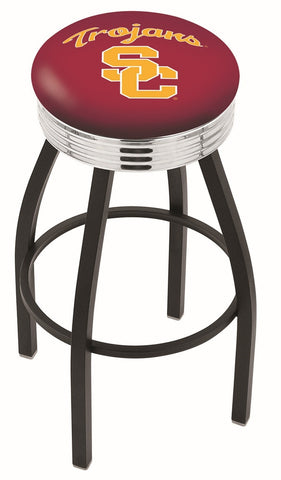 "USC Trojans 30"" L8B3C - Black Wrinkle USC Trojans Swivel Bar Stool with Chrome 2.5"" Ribbed Accent Ring by Holland Bar Stool Company"