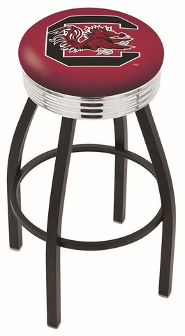 "South Carolina Gamecocks 30"" L8B3C - Black Wrinkle South Carolina Swivel Bar Stool with Chrome 2.5"" Ribbed Accent Ring by Holland Bar Stool Company"