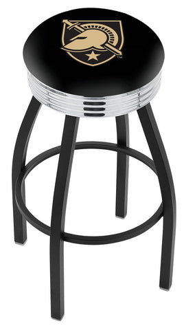 "Army Black Knights 30"" L8B3C - Black Wrinkle US Military Academy (ARMY) Swivel Bar Stool with Chrome 2.5"" Ribbed Accent Ring by Holland Bar Stool Company"