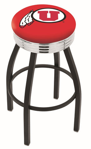 "Utah Utes 30"" L8B3C - Black Wrinkle Utah Swivel Bar Stool with Chrome 2.5"" Ribbed Accent Ring by Holland Bar Stool Company"