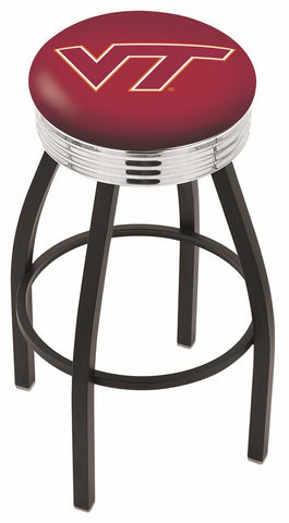 "VT Hokies 30"" L8B3C - Black Wrinkle Virginia Tech Swivel Bar Stool with Chrome 2.5"" Ribbed Accent Ring by Holland Bar Stool Company"