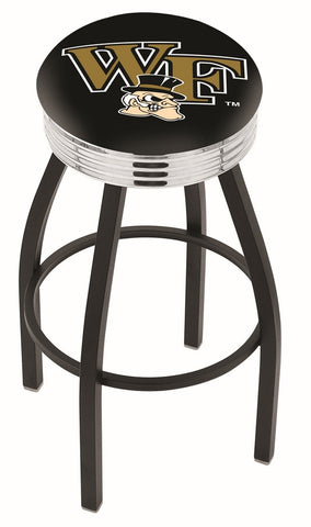 "Wake Forest Demon Deacons 30"" L8B3C - Black Wrinkle Wake Forest Swivel Bar Stool with Chrome 2.5"" Ribbed Accent Ring by Holland Bar Stool Company"