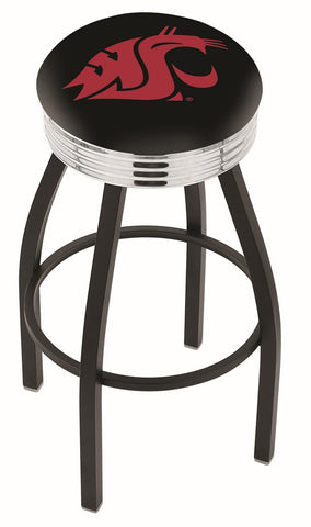 "WSU Cougars 30"" L8B3C - Black Wrinkle Washington State Swivel Bar Stool with Chrome 2.5"" Ribbed Accent Ring by Holland Bar Stool Company"