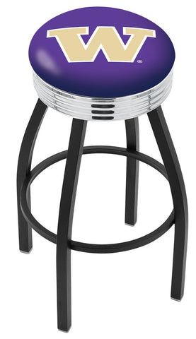 "UW Huskies 30"" L8B3C - Black Wrinkle Washington Swivel Bar Stool with Chrome 2.5"" Ribbed Accent Ring by Holland Bar Stool Company"