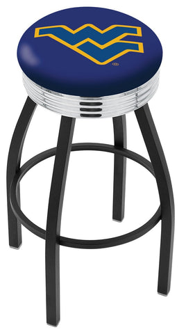 "WVU Mountaineers 30"" L8B3C - Black Wrinkle West Virginia Swivel Bar Stool with Chrome 2.5"" Ribbed Accent Ring by Holland Bar Stool Company"