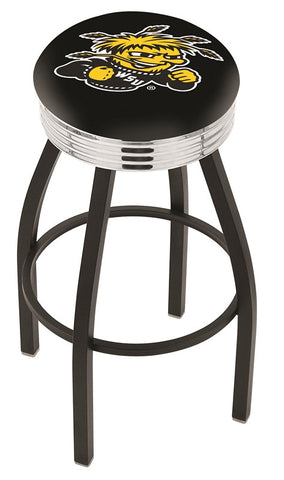 "Wichita State  Shockers 30"" L8B3C - Black Wrinkle Wichita State Swivel Bar Stool with Chrome 2.5"" Ribbed Accent Ring by Holland Bar Stool Company"