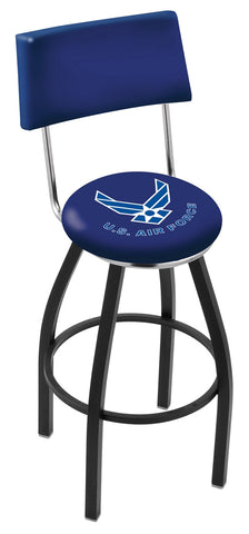 "30"" L8B4 - Black Wrinkle U.S. Air Force Swivel Bar Stool with a Back by Holland Bar Stool Company"