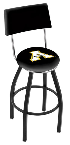 "ASU Mountaineers 30"" L8B4 - Black Wrinkle Appalachian State Swivel Bar Stool with a Back by Holland Bar Stool Company"