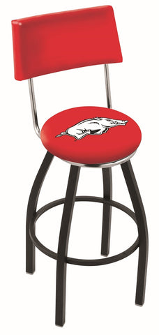 "Arkansas Razorbacks 30"" L8B4 - Black Wrinkle Arkansas Swivel Bar Stool with a Back by Holland Bar Stool Company"