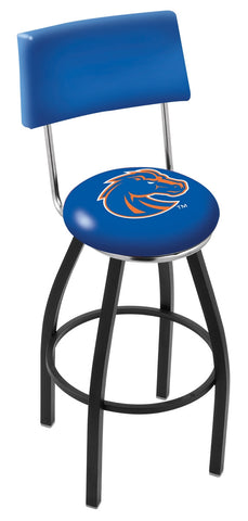 "BSU Broncos 30"" L8B4 - Black Wrinkle Boise State Swivel Bar Stool with a Back by Holland Bar Stool Company"
