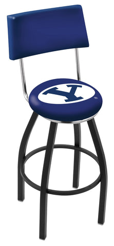 "BYU Cougars 30"" L8B4 - Black Wrinkle Brigham Young Swivel Bar Stool with a Back by Holland Bar Stool Company"