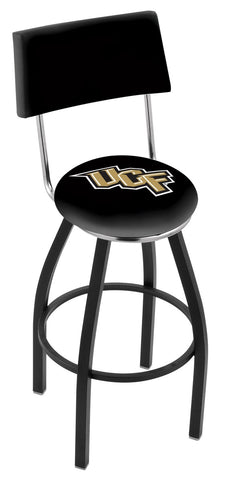 "UCF Knights 30"" L8B4 - Black Wrinkle Central Florida Swivel Bar Stool with a Back by Holland Bar Stool Company"