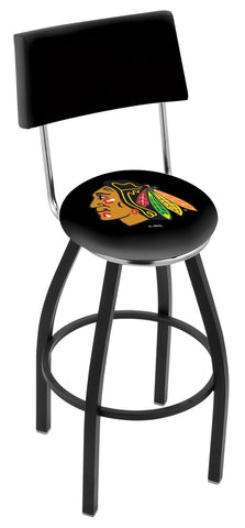 "30"" L8B4 - Black Wrinkle Chicago Blackhawks Swivel Bar Stool with a Back by Holland Bar Stool Company"