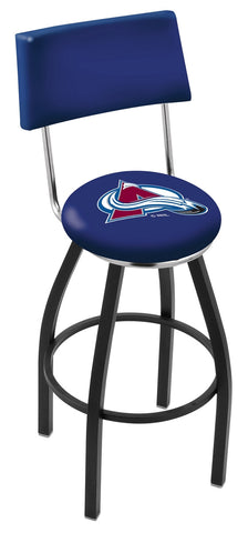 "30"" L8B4 - Black Wrinkle Colorado Avalanche Swivel Bar Stool with a Back by Holland Bar Stool Company"