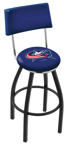 "30"" L8B4 - Black Wrinkle Columbus Blue Jackets Swivel Bar Stool with a Back by Holland Bar Stool Company"