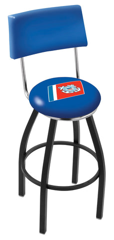 "30"" L8B4 - Black Wrinkle U.S. Coast Guard Swivel Bar Stool with a Back by Holland Bar Stool Company"