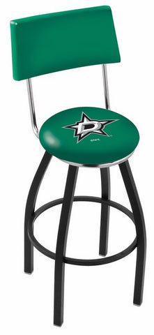 "30"" L8B4 - Black Wrinkle Dallas Stars Swivel Bar Stool with a Back by Holland Bar Stool Company"
