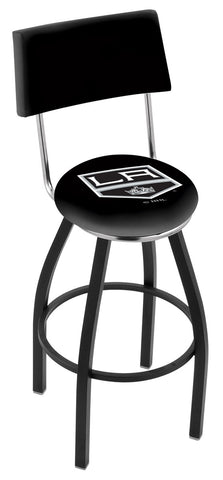 "30"" L8B4 - Black Wrinkle Los Angeles Kings Swivel Bar Stool with a Back by Holland Bar Stool Company"