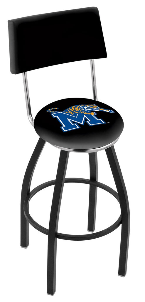 "Memphis Tigers 30"" L8B4 - Black Wrinkle Memphis Swivel Bar Stool with a Back by Holland Bar Stool Company"