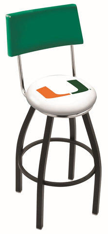 "Miami Hurricanes 30"" L8B4 - Black Wrinkle Miami (FL) Swivel Bar Stool with a Back by Holland Bar Stool Company"