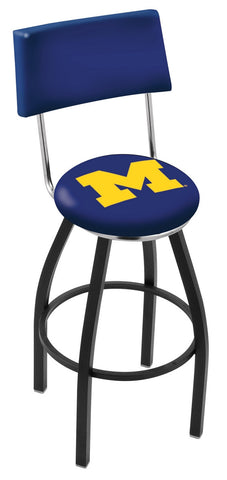 "Michigan Wolverines 30"" L8B4 - Black Wrinkle Michigan Swivel Bar Stool with a Back by Holland Bar Stool Company"
