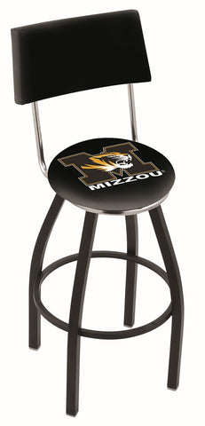 "Mizzou Tigers 30"" L8B4 - Black Wrinkle Missouri Swivel Bar Stool with a Back by Holland Bar Stool Company"