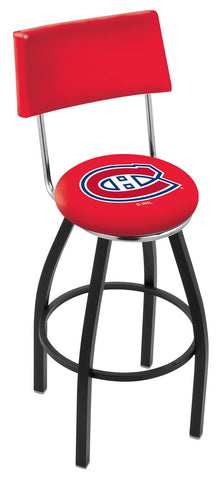 "30"" L8B4 - Black Wrinkle Montreal Canadiens Swivel Bar Stool with a Back by Holland Bar Stool Company"