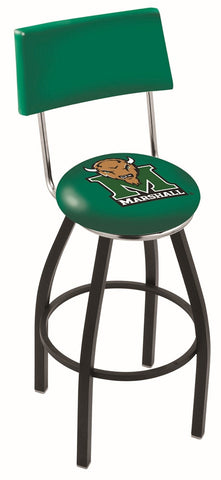 "Marshall  Thundering Herd 30"" L8B4 - Black Wrinkle Marshall Swivel Bar Stool with a Back by Holland Bar Stool Company"