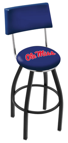 "Ole Miss Rebels 30"" L8B4 - Black Wrinkle Ole' Miss Swivel Bar Stool with a Back by Holland Bar Stool Company"