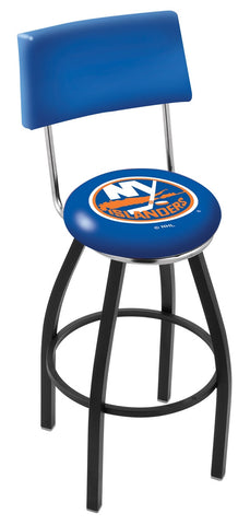 "30"" L8B4 - Black Wrinkle New York Islanders Swivel Bar Stool with a Back by Holland Bar Stool Company"