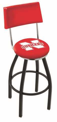 "Nebraska Cornhuskers 30"" L8B4 - Black Wrinkle Nebraska Swivel Bar Stool with a Back by Holland Bar Stool Company"