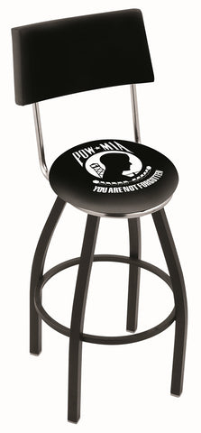 "30"" L8B4 - Black Wrinkle POW/MIA Swivel Bar Stool with a Back by Holland Bar Stool Company"